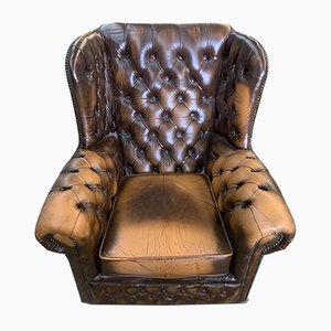 Chesterfield Brown Leather Deep Button Wingback Lounge Chair with Brass Details, 1960s