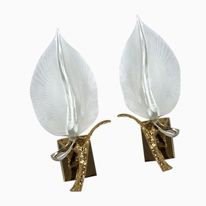 Italian Gilt and Murano Glass Sconces by Franco Luce, 1970s, Set of 2
