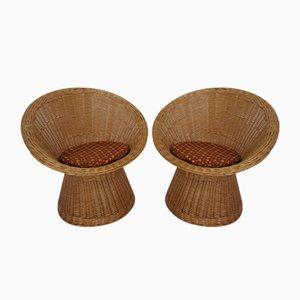 Französische Stühle aus Bambus, 1970er, 2er Set