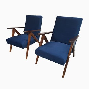 Model B 310 Var Armchairs in Navy Blue Velvet, 1960s, Set of 2