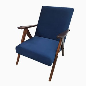 Model B 310 Var Armchair in Navy Blue Velvet, 1960s