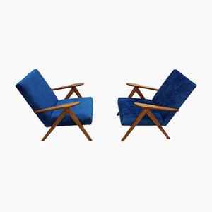 Model B 310 Var Armchairs in Blue Velvet, 1960s, Set of 2