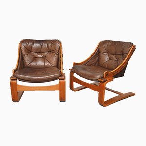 Teak and Leather Lounge Chairs by Åke Fribytter for Nelo Möbel, 1960s, Set of 2