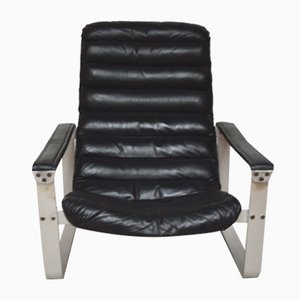 Pulkka Black Leather and Aluminum Lounge Chair by Ilmari Lappalainen for Asko, 1970s