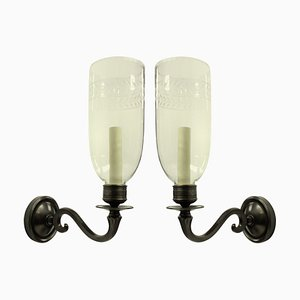English Regency Style Wall Lights with Storm Shades, 1970s, Set of 2