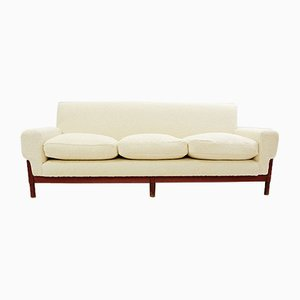 Italian Three-Seater Sofa with New Cream White Upholstery