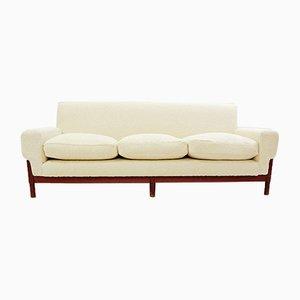 Italienisches Drei-Sitzer Sofa mit neuem cremeweißem Bezug