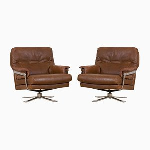 Brown Buffalo Leather Swivel Lounge Chairs from Aalborg Polstermøbelfabrik, Denmark, 1970s, Set of 2