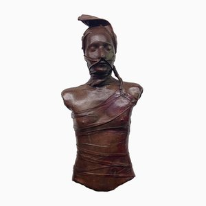 Bust of Woman in Leather by Bruno Baratier