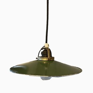 Bauhaus Green White Brass Ceiling Lamp
