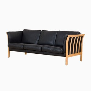 Danish Black Leather and Beech Sofa Attributed to Mogens Hansen, 1990s