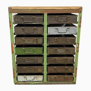 Cassettiera vintage industriale in ferro, anni '50