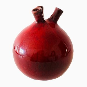 Belgian Pottery Ceramic Triple Spout Vase by Rogier Vandeweghe for Perignem, 1950s