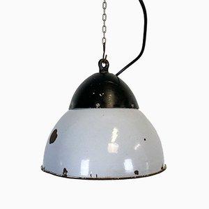 Lampada a sospensione vintage smaltata grigia, anni '30