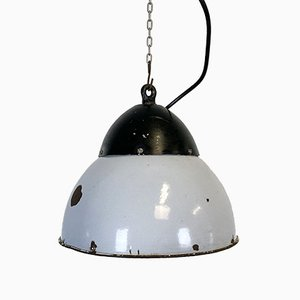 Vintage Grey Enamelled Hanging Lamp, 1930s