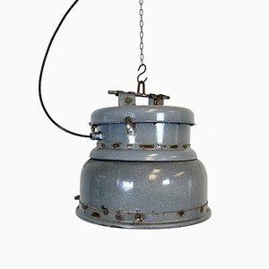 Lampada vintage industriale smaltata grigia, anni '50