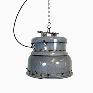 Vintage Grey Enamel Industrial Lamp, 1950s