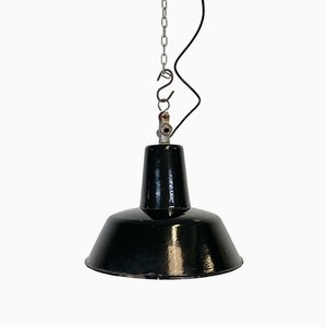 Vintage Black Industrial Ceiling Lamp, 1930s