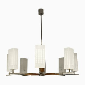 Mid-Century Rosewood Chandelier with Opaline Glass and Chromium Frame