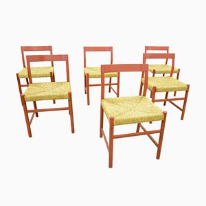 Oak and Wicker Dining Chairs, 1960s, Set of 6