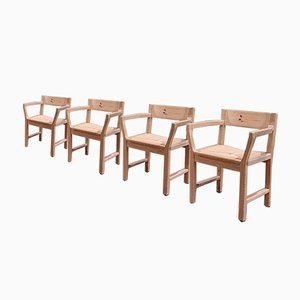 Pine Dining Chairs with Paper Cord Seats by Tage Poulsen for Gramrode, Set of 4, 1970s