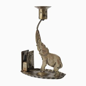 Wrought Iron Elephant Candlestick by Hugo Berger for Goberg Metallwarenfabrik, 1900s