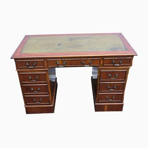 Mahogany Pedestal Desk with Green Leather Top, 1960s