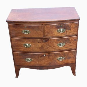 Mahogany 4-Drawer Bow Chest Drawers, 1900s