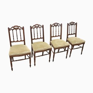 Antique Turned Walnut Chairs, Set of 4