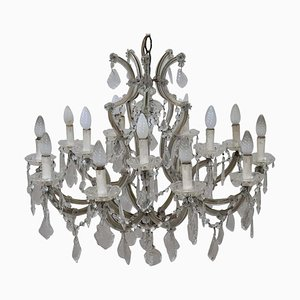 Antique Crystal and Bronze Chandelier, 1880s