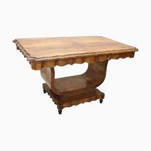 Art Deco Walnut Burl Dining Table, 1930s