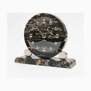 Art Deco French Black Marble Clock, 1930s