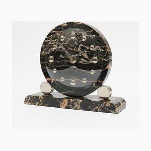 Schwarze französische Art Deco Marmor Uhr, 1930er