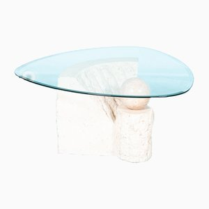Vintage Travertine & Glass Coffee Table