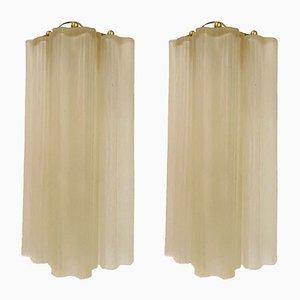 Murano Glasröhren Wandleuchten von Paolo Venini, 1970er, 2er Set