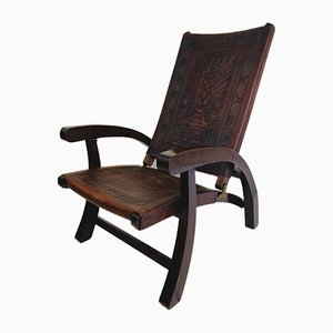 Mid-Century Modern Ecuadorian Wood and Leather Folding Chair by Angel Pazmino for Furniture Style