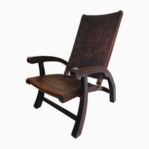Mid-Century Modern Ecuadorianischer Klappstuhl aus Holz & Leder von Angel Pazmino für Furniture Style