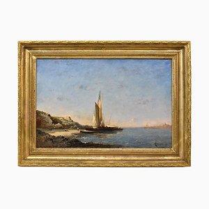 Paesaggio marino con barca a vela, olio su tela, XIX secolo