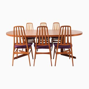 Teak Mid-Century Modern Dining Table & Chairs Set by IMHA, 1960s, Set of 7