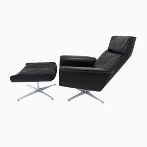 Siesta 62 Black Leather Lounge Chair and Ottoman by Brule for Kaufeld, 1960s, Set of 2