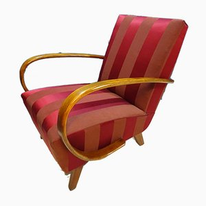 Red Damask Fabric Armchair from Halabala, 1940s