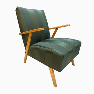 Green Damask Lounge Chair, 1950s