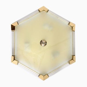 Hexagonal Glass Rod Flush Mount from Honsel, 1980s