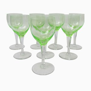 Hand Blown Art Nouveau Uranium Glass Wine Glasses, Set of 8