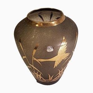 Vase aus Geätztem Glas mit Vergoldetem Dekor und Kranich von Alfred Taube für Füge & Taube, 1960er
