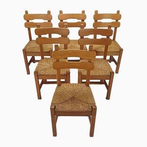 Eichenholz und Stroh Esszimmerstühle, 1950er, 6er Set