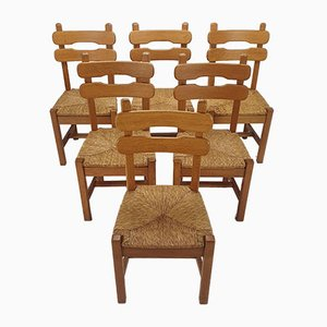 Oak and Straw Dining Chairs, 1950s, Set of 6