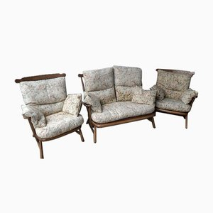 Vintage Model 1914 2-Seater Sofa & 2 Armchairs from Ercol, Set of 3