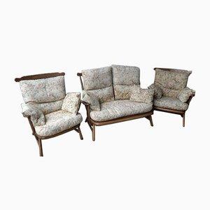 Vintage Modell 1914 2-Sitzer Sofa & 2 Sessel von Ercol, 3er Set