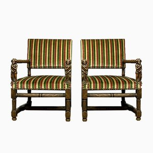 Renaissance Solid Oak and Velvet Armchairs, Set of 2